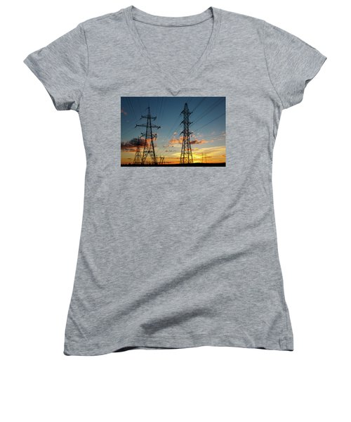 Power Cables Women's V-Neck