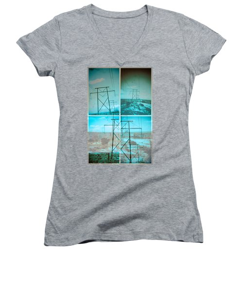 Power Line Patriots Women's V-Neck T-Shirt (Junior Cut) by Bartz Johnson