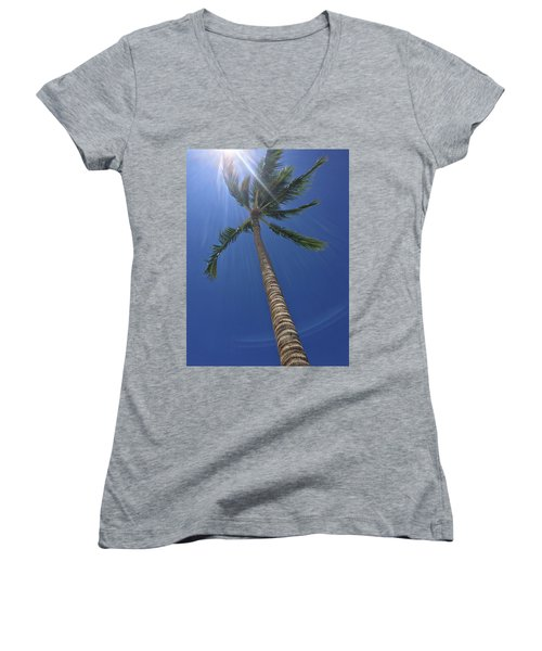 Powerful Palm Women's V-Neck T-Shirt (Junior Cut) by Karen Nicholson