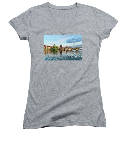 Prague From The River Women's V-Neck (Athletic Fit)