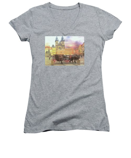 Prague Old Town Square Women's V-Neck