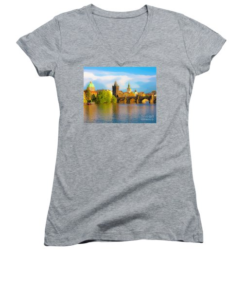Women's V-Neck T-Shirt (Junior Cut) featuring the photograph Praha - Prague - Illusions by Tom Cameron