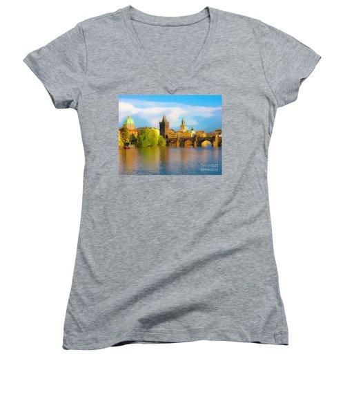 Praha - Prague - Illusions Women's V-Neck T-Shirt (Junior Cut) by Tom Cameron