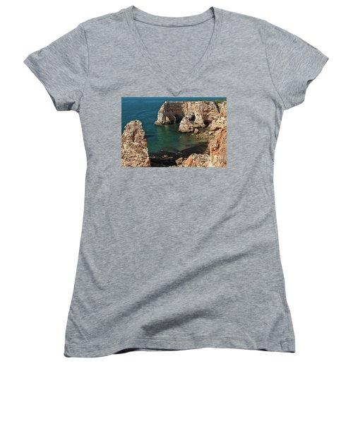 Praia Da Marinha Cliffs And Sea Women's V-Neck (Athletic Fit)