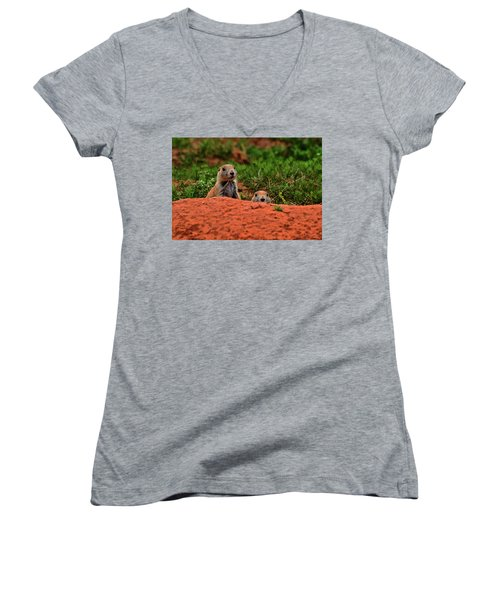 Women's V-Neck T-Shirt (Junior Cut) featuring the photograph Prairie Dogs 004 by George Bostian