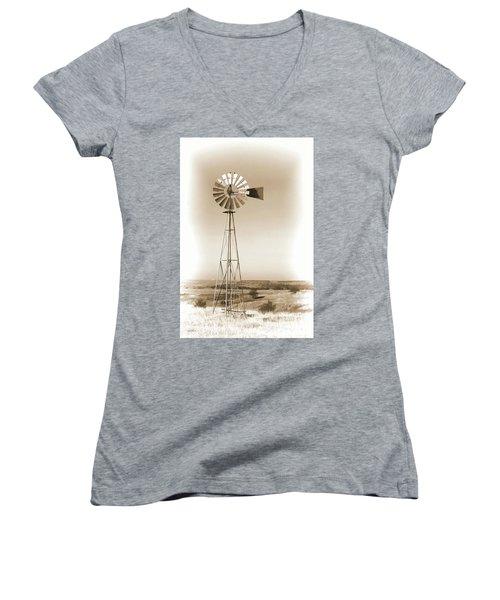 Prairie Guardian Women's V-Neck T-Shirt (Junior Cut) by Sylvia Thornton