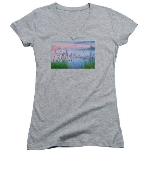 Women's V-Neck T-Shirt (Junior Cut) featuring the photograph Prairie Pond Before Sunrise by Dan Jurak