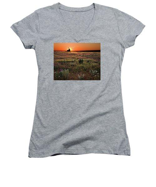 Prairie Sunset Women's V-Neck T-Shirt