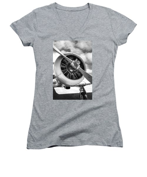Pratt And Whitney R1340 Wasp Radial Engine Women's V-Neck T-Shirt (Junior Cut) by Chris Smith