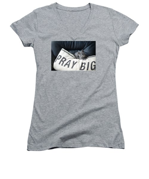 Pray Big Women's V-Neck (Athletic Fit)