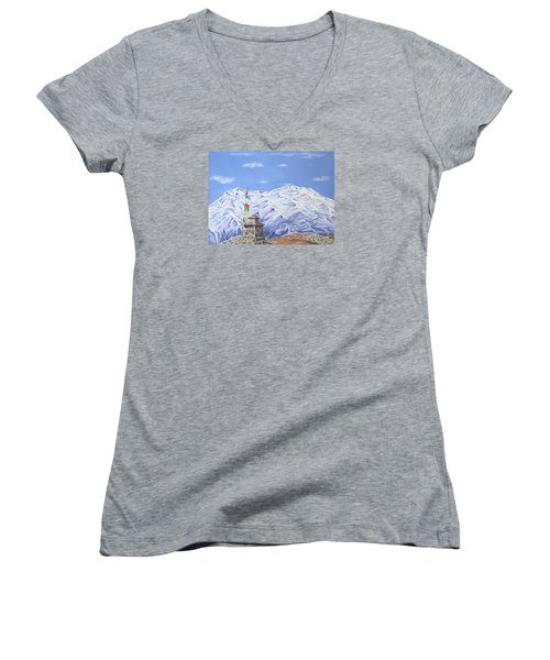 Women's V-Neck T-Shirt (Junior Cut) featuring the painting Prayer Flag by Elizabeth Lock
