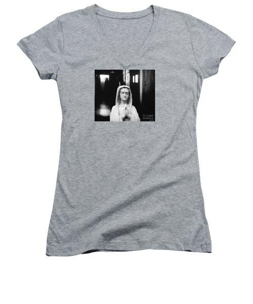 Prayer For Peace Women's V-Neck T-Shirt (Junior Cut) by Lyric Lucas