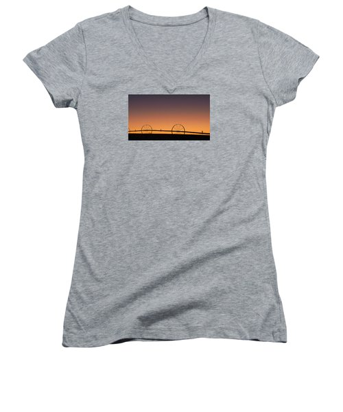 Pre-dawn Orange Sky Women's V-Neck T-Shirt