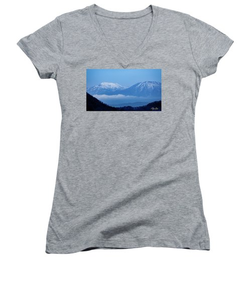 Women's V-Neck T-Shirt featuring the photograph Predawn Peaks by Rikk Flohr