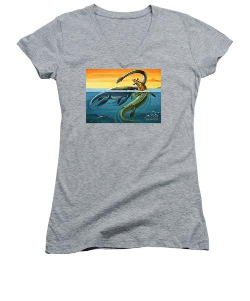 Prehistoric Creatures In The Ocean Women's V-Neck T-Shirt (Junior Cut) by English School