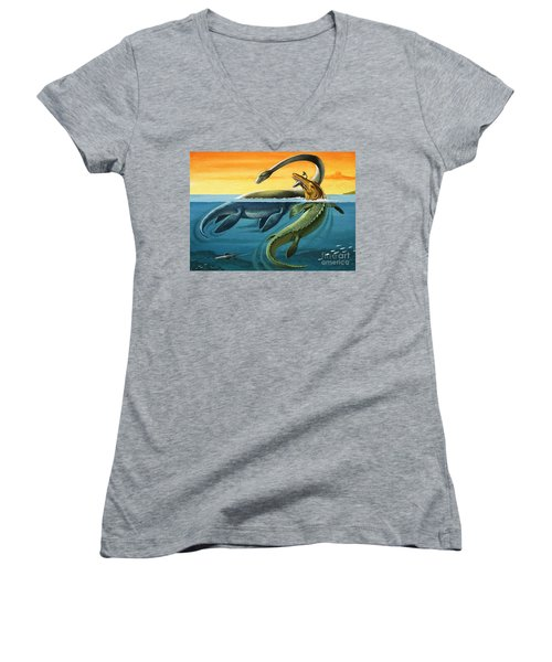 Prehistoric Creatures In The Ocean Women's V-Neck T-Shirt