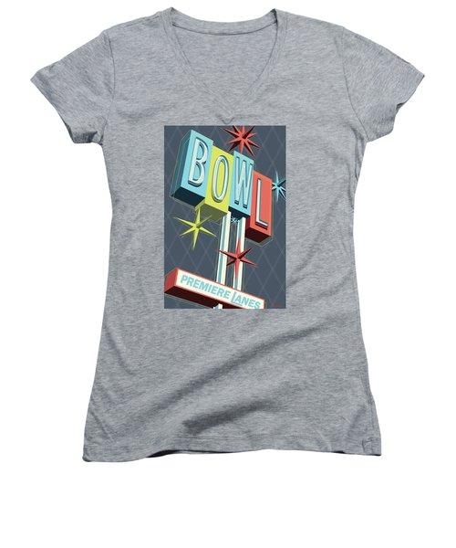 Premiere Lanes Bowling Pop Art Women's V-Neck T-Shirt