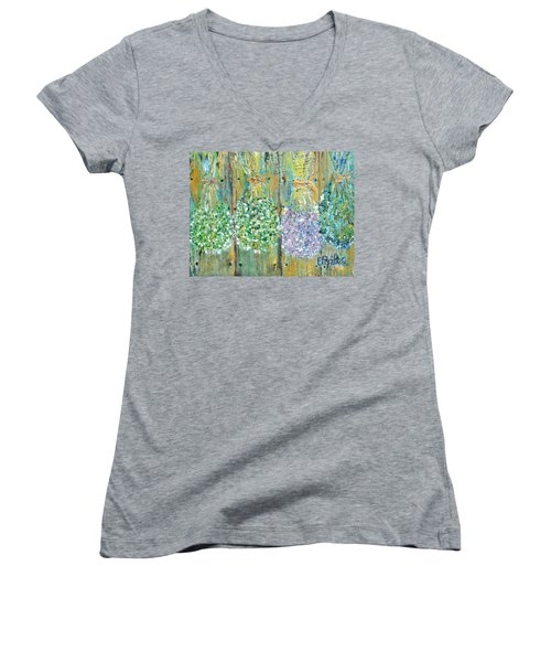 Women's V-Neck T-Shirt (Junior Cut) featuring the painting Preserved Herbs by Evelina Popilian