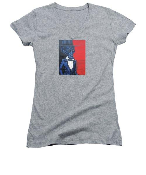 President Alienham Lincoln Women's V-Neck T-Shirt (Junior Cut) by Similar Alien
