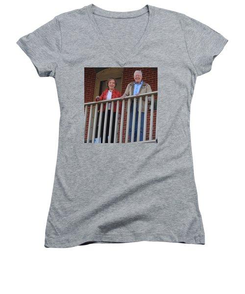 President And Mrs Carter On Plains Inn Balcony Women's V-Neck