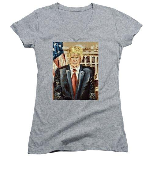 President Donald Trump Women's V-Neck (Athletic Fit)