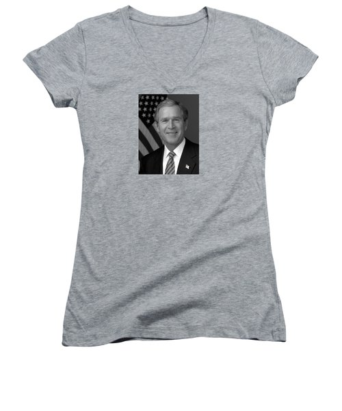 President George W. Bush Women's V-Neck T-Shirt (Junior Cut) by War Is Hell Store