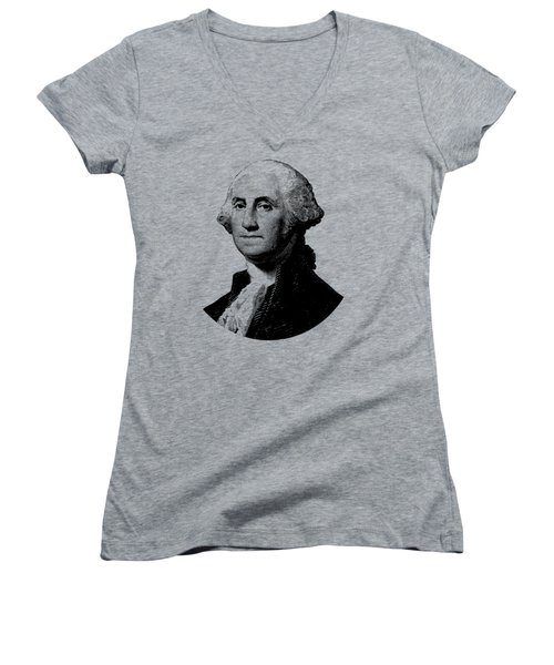 President George Washington Graphic - Black And White Women's V-Neck T-Shirt (Junior Cut) by War Is Hell Store