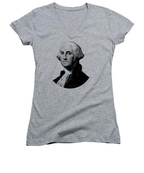 President George Washington Graphic - Black And White Women's V-Neck T-Shirt (Junior Cut)
