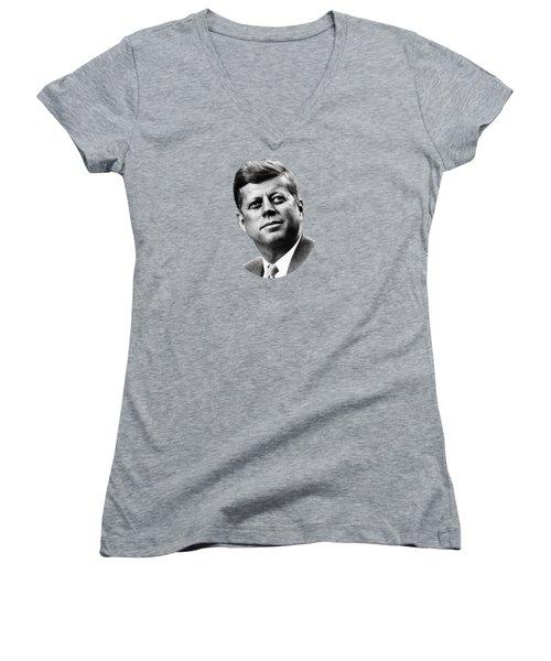 President Kennedy Women's V-Neck T-Shirt