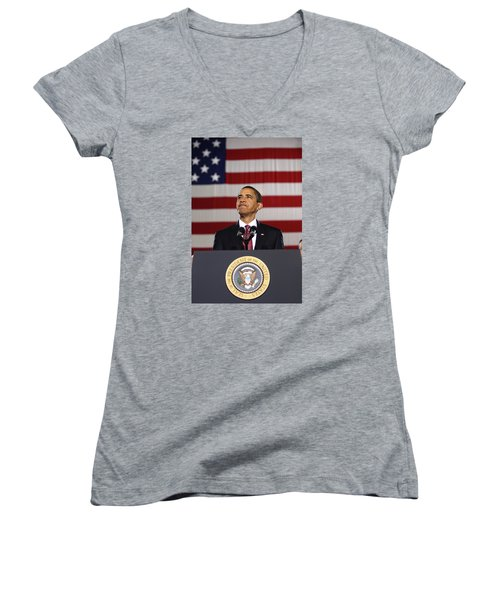 President Obama Women's V-Neck T-Shirt (Junior Cut) by War Is Hell Store