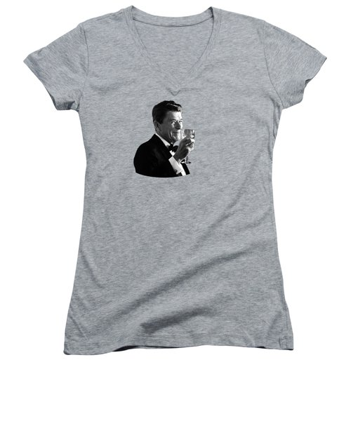 President Reagan Making A Toast Women's V-Neck T-Shirt (Junior Cut)