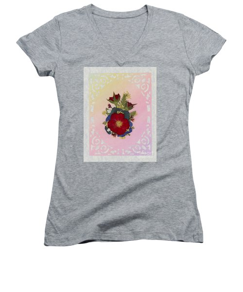 Pressed Flowers Arrangement With Red Roses Women's V-Neck