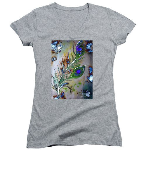 Women's V-Neck T-Shirt featuring the painting Pretty As A Peacock by Denise Tomasura