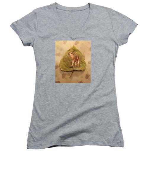 Pretty Baby Deer Women's V-Neck T-Shirt (Junior Cut) by Ralph Root