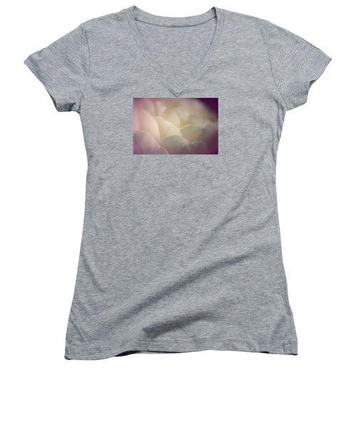 Women's V-Neck T-Shirt (Junior Cut) featuring the photograph Pretty Cream Rose by The Art Of Marilyn Ridoutt-Greene