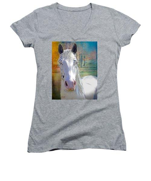 Pretty Eyes Women's V-Neck T-Shirt (Junior Cut) by Bonnie Willis