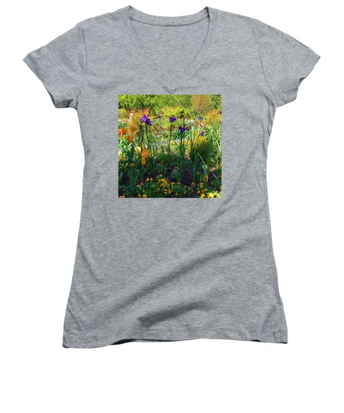 Pretty Flowers Women's V-Neck T-Shirt (Junior Cut) by Kay Gilley