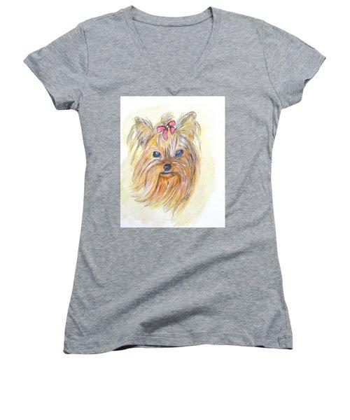 Pretty Girl Women's V-Neck T-Shirt (Junior Cut) by Clyde J Kell