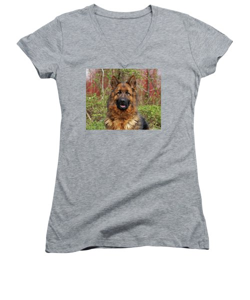Women's V-Neck T-Shirt (Junior Cut) featuring the photograph Pretty Girl Onja by Sandy Keeton