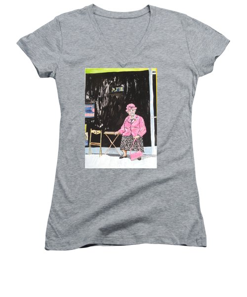Pretty In Pink Women's V-Neck T-Shirt (Junior Cut) by Esther Newman-Cohen