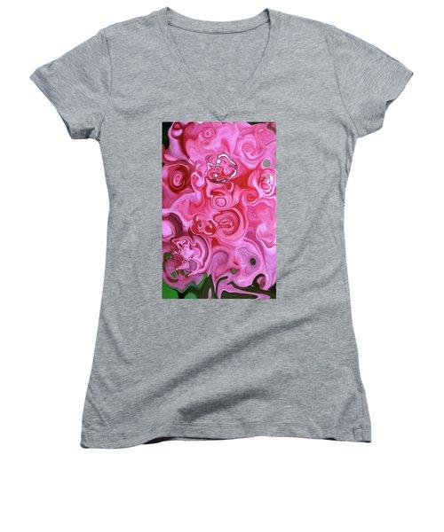Pretty In Pink Women's V-Neck T-Shirt (Junior Cut) by JoAnn Lense