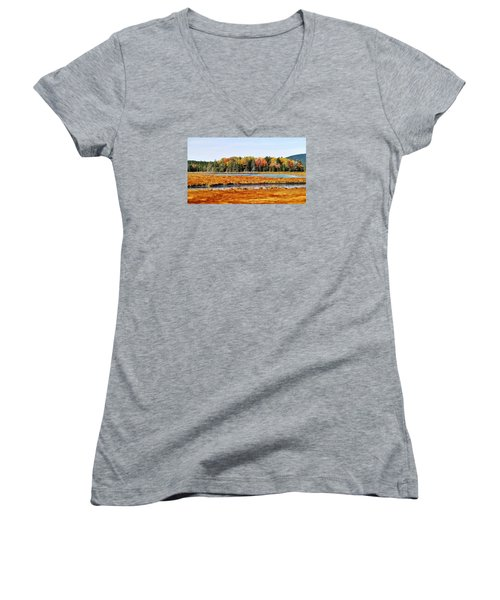 Women's V-Neck T-Shirt (Junior Cut) featuring the photograph Pretty Marsh 2 by Mike Breau