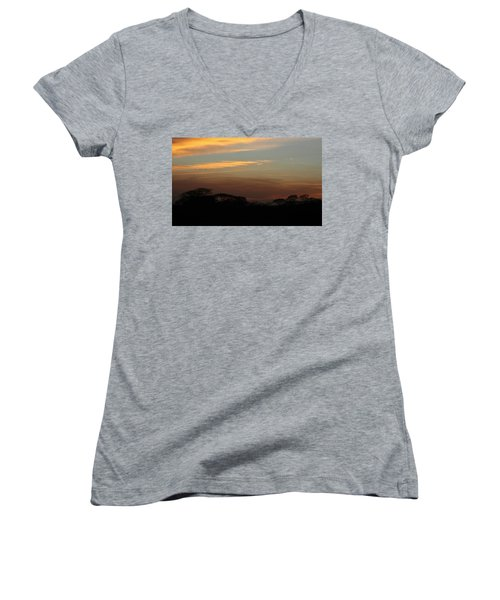 Pretty Pastel Sunset Women's V-Neck T-Shirt (Junior Cut) by Ellen O'Reilly