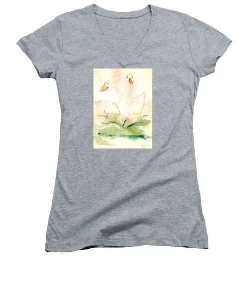 Women's V-Neck T-Shirt (Junior Cut) featuring the painting Pretty Pekins by Denise Tomasura