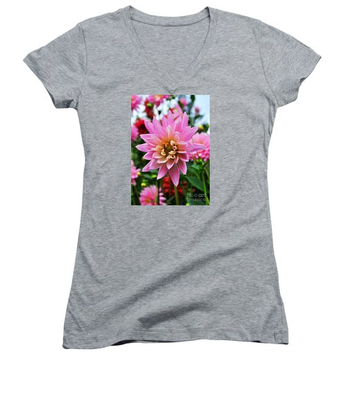 Pretty Pink Dahlia  Women's V-Neck T-Shirt (Junior Cut) by Mindy Bench