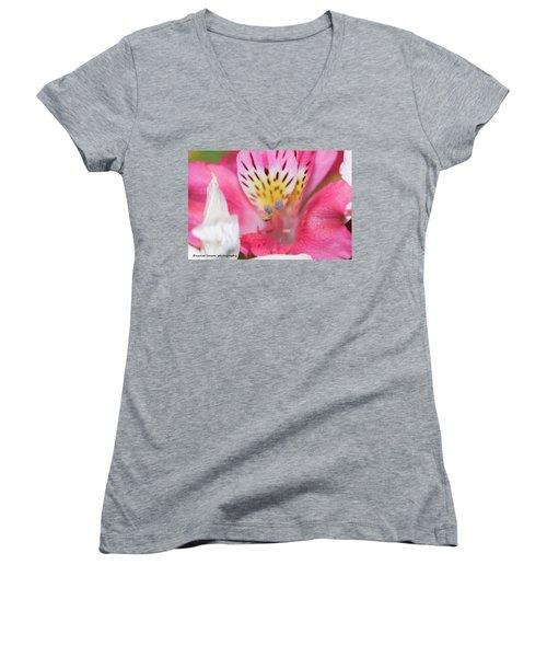 Pretty Pink Women's V-Neck T-Shirt (Junior Cut) by Nance Larson
