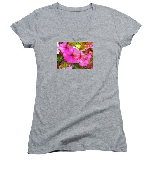 Pretty Pink Petunias Women's V-Neck (Athletic Fit)
