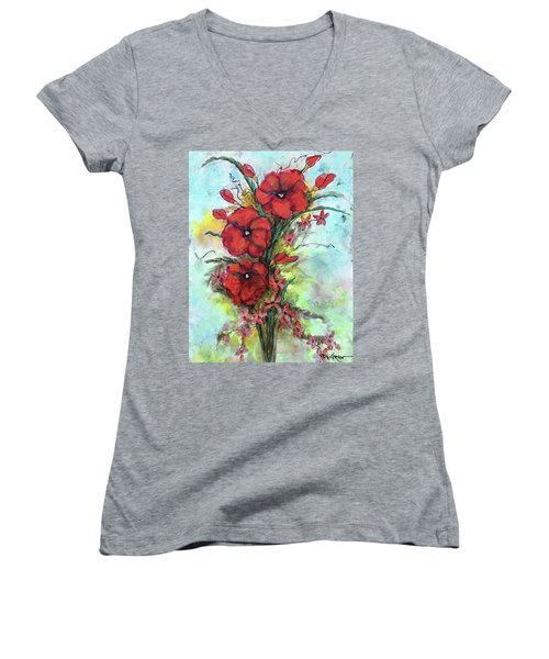 Pretty Poppies Women's V-Neck