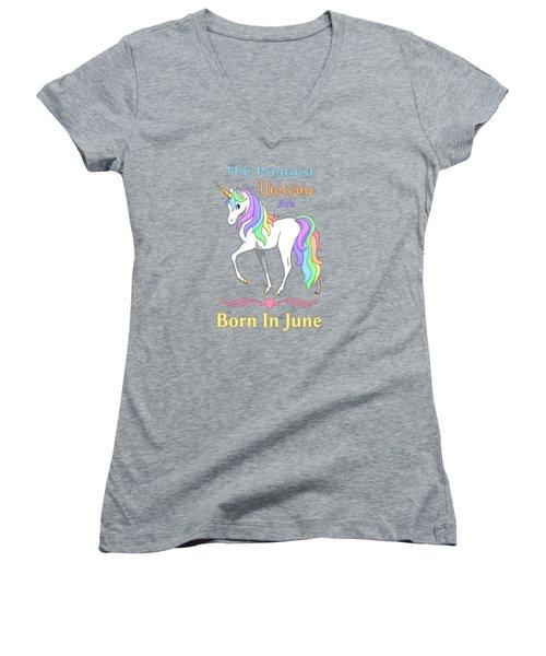 Pretty Rainbow Unicorn Born In June Birthday Women's V-Neck T-Shirt (Junior Cut) by Crista Forest