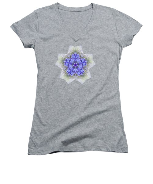 Pretty Wisteria Kaleidoscope By Kaye Menner Women's V-Neck T-Shirt (Junior Cut) by Kaye Menner